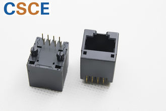 Round Pin PBT RJ45 Single ميناء 8 Pin 8 Contact Unshielded Tab Up Latch W / O PEG